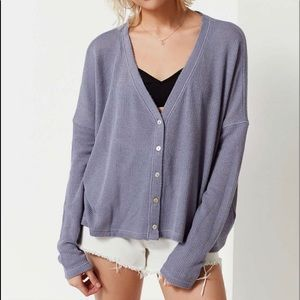 URBAN OUTFITTERS COURTNEY Thermal Cardigan Gray